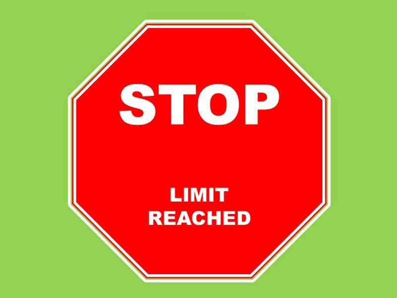 Image result for limit reached sign
